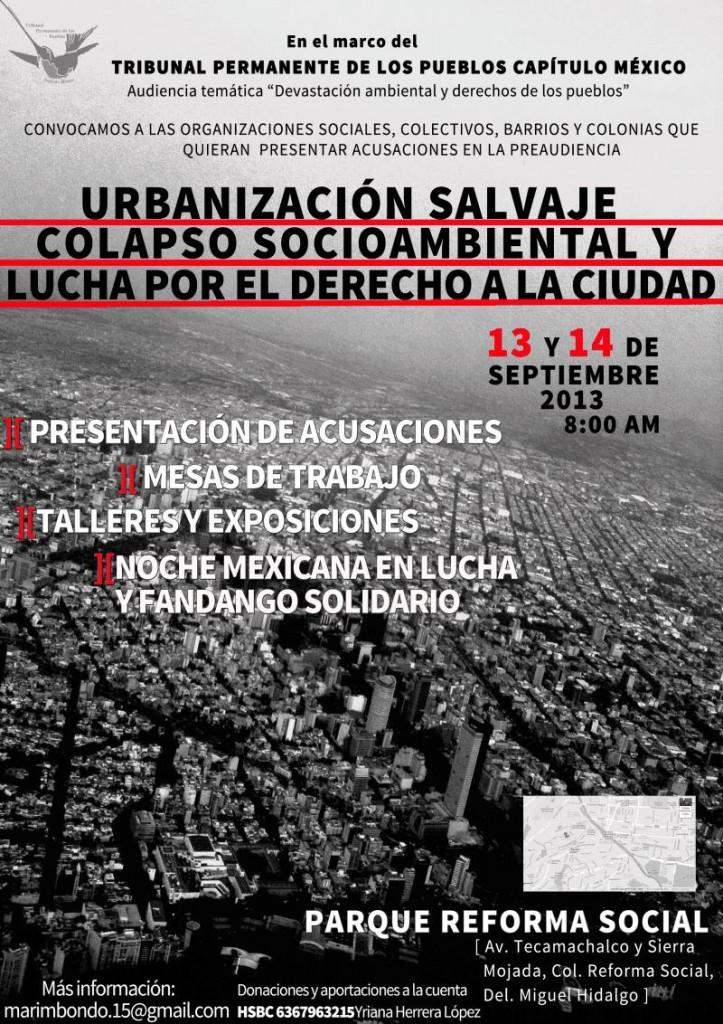 Cartel Preaudiencia Urbanización salvaje, colapso socioambiental y lucha por el derecho a la ciudad