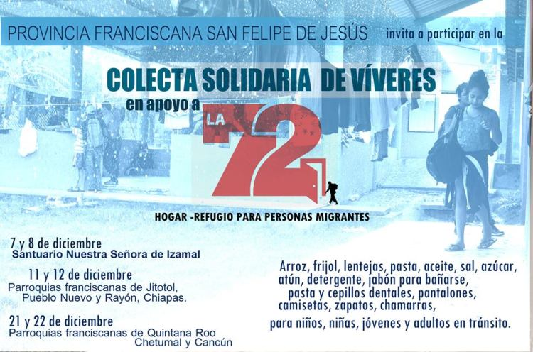 cartel colecta para La 72