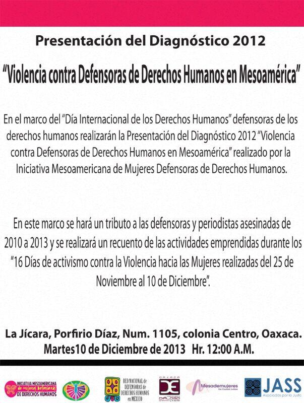 cartel diagnostico 2013 violencia contra defensoras