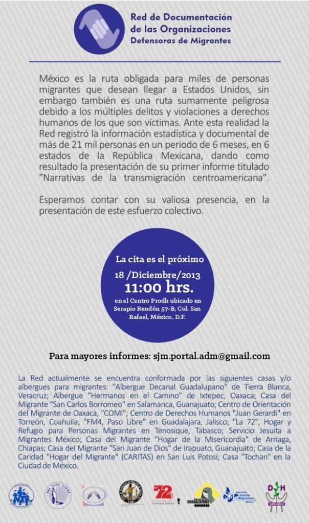 Invitación  informe Narrativas de la transmigración