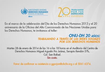 ONU-DH 20 años- trabajando a través de las redes sociales por los Derechos Humanos